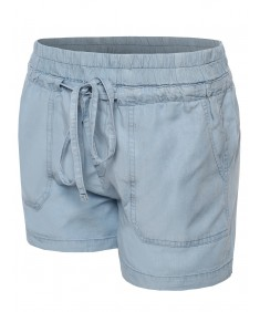Women's Basic Adjustable Elastic Waist Denim Cotton Shorts