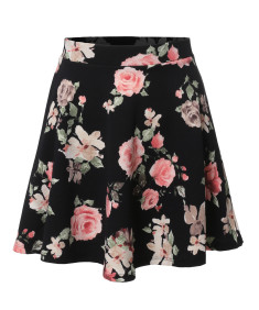Women's Floral Elasticized Waistband Swing Skater A-Lined Skirt