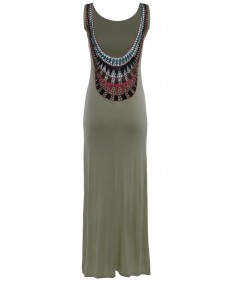 Women's Low Back Maxi Dress with Colorful Stitching