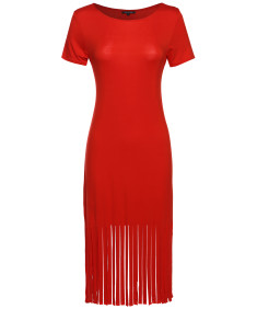 Women's Short Sleeve Midi Dress w/ Fringe