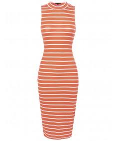 Women's Sleeveless Stripe High Neck Bodycon Midi Dress