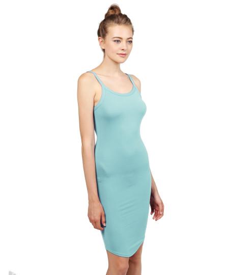 Women's Solid Crew Neck Spaghetti Strap Body-Con Midi Dress