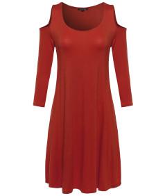 Women's Solid Cold Shoulder 3/4 Sleeves Swing Mini Jersey Dress