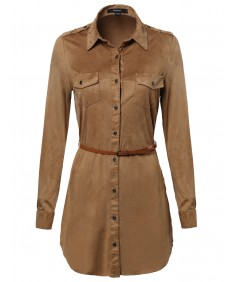 Women's Super Soft Faux Suede Shirts Dress with Belt