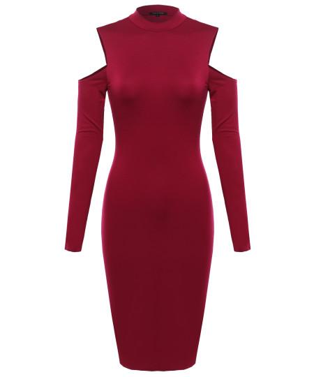 Women's Solid Cold Shoulder Mock Neck Mini Dress
