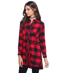 Women's Super Cute Flannel Plaid Checker Shirts Dress with Belt