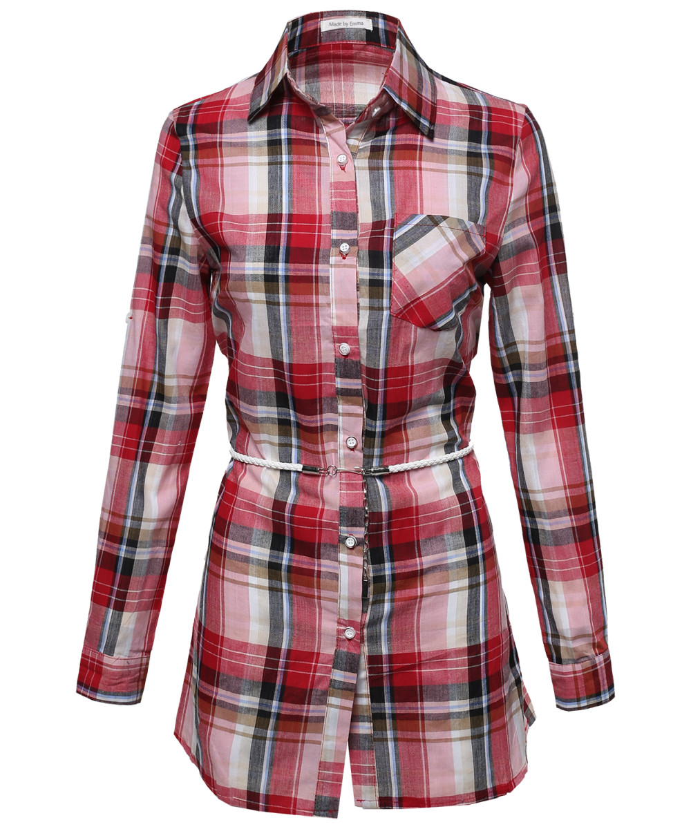 4113adb4441 Women s Super Cute Flannel Plaid Checker Shirts Dress with Belt ...