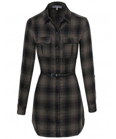 Women's Flannel Plaid Checker Shirt Dress With Belt