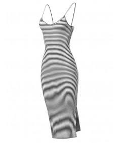 Women's V-Neck Strappy Yarn Dye Stripe Ribbed Midi Dress