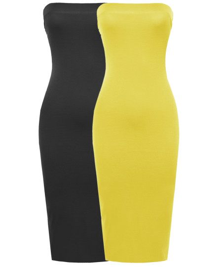 Women's Sexy Comfortable Tube Top Bodycon Midi Dress in Various Colors