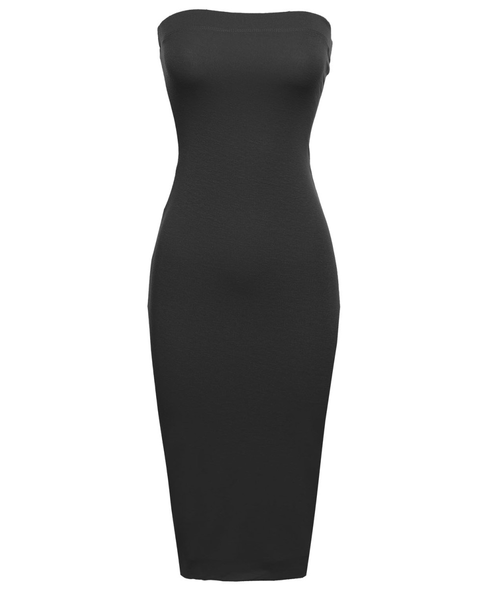 fe00f77c09a Women s Sexy Comfortable Tube Top Bodycon Midi Dress in Various Colors