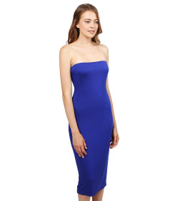 Women's Solid Bodycon Midi Tube Dress