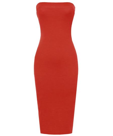 Women's Solid Bodycon Midi Tube Dress