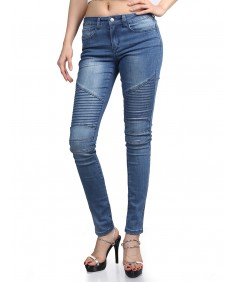 Women's Skinny Medium Blue Biker Sandwashed Distressed Jean