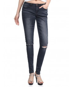 Women's Skinny Dark Blue Sandwashed Distressed Jean