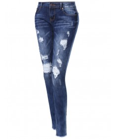 Women's Stretch Skinny Ripped Destroyed Jeans Designed in USA