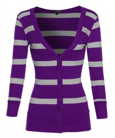 Women's Women's Basic Striped Button-Down Cardigan