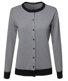Women's Fine Quality Long Sleeve Round Neck Stripe Cardigan