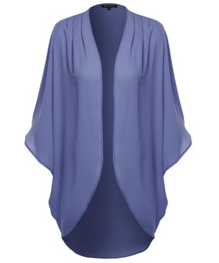 Women's Flowy Sheer Loose Chiffon Kimono Cardigan & Blouse Top Solid