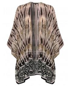 Women's Flowy Loose Tie Dye Kimono Cardigan Blouse Top