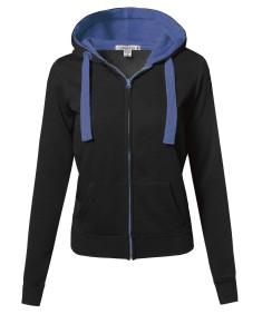 Women's Basic Contrasting Color Zip-Up Hoodie