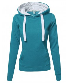 Women's Basic Pullover Hoodie With Wide Drawstrings