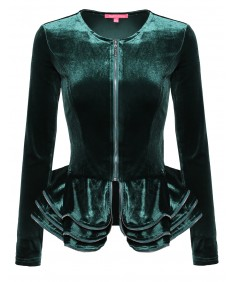 Women's Fit and Flare Peplum Blazer Jacket with Ruffles