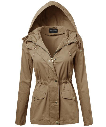 Women's Military Zip Up & Button Closure Hooded Jackets