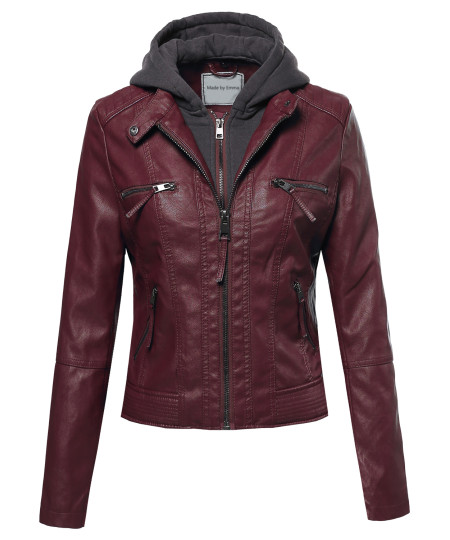 Women's Faux Leather Rider Jacket With Detachable Hood