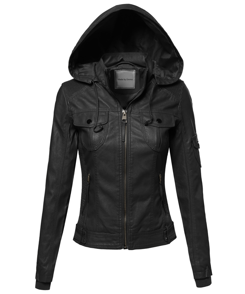 Womens faux leather jacket with hood