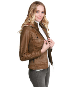 Women's Faux Leather Jacket With Detachable Hood