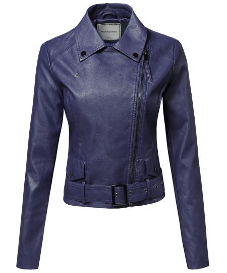 Women's Classic Belted Biker Jacket