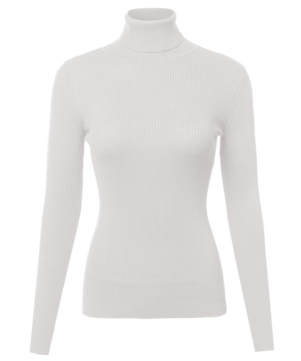 Womens Basic Solid Lightweight Ribbed Turtleneck Sweater Top Shirt ...