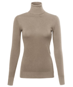 Women's Basic Lightweight Ribbed Turtleneck Sweater Top