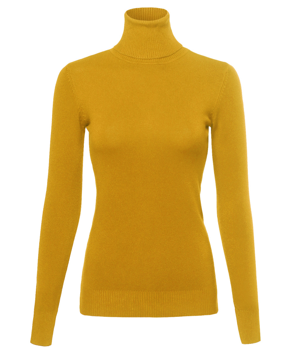 Women's Basic Solid Career Lightweight Ribbed Turtleneck Sweater ...
