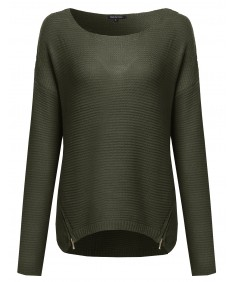 Women's Basic Chunky Knit Sweater With Side Zippers