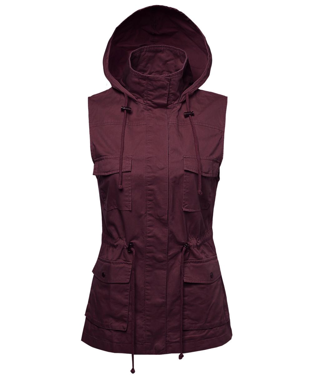221a2626a21ce Women s Sleeveless Safari Military Hooded Vest Jacket ...