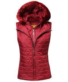 Women's Quilted Mediumweight Vest With Detachable Hood