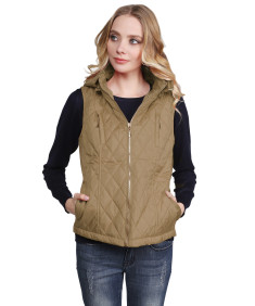 Women's Quilted Zip Up Vest With Detachable Hood