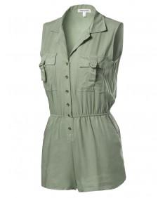 Women's Sleeveless D-Ring Chest Pockets Collar Rayon Romper