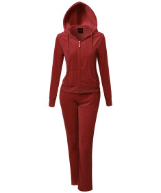 Women's Solid Soft Velour Zip-Up Hoodie Workout Sweatpants Set