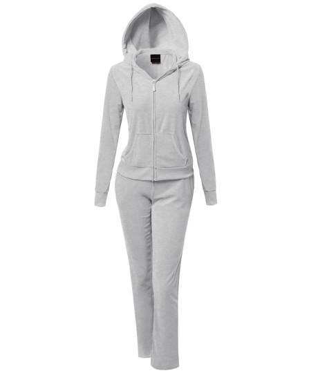 Women's Solid Soft Velour Zip-Up Hoodie Workout Sweatpants Set