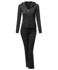 Women's Athletic Zip Up Hoodie Sweatpants Set