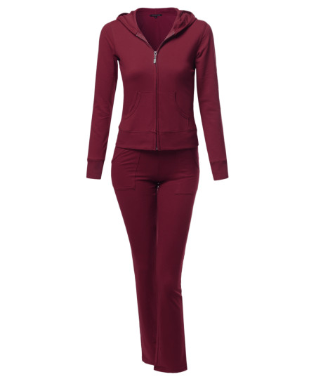 Women's Athletic Zip Up Hoodie Sweatpants Set