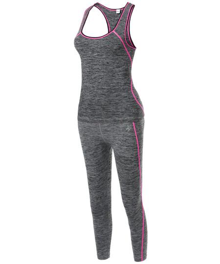 Women's Sports Yoga Workout Training Set Top Capri Leggings