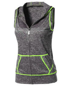 Women's Sports Yoga Workout Training Stretch Hooded Zipper Vest