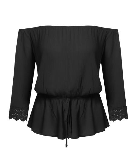 Women's Festival Concert Boho Solid 3/4 Sleeve Off Shoulder Blouse Top