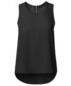 Women's Round Neck Zipper Back Closure High Low Hem Sleeveless Blouse