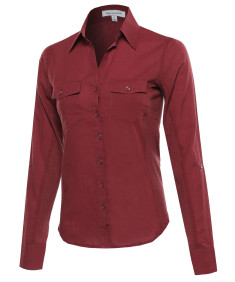 Women's Basic Everyday Long Sleeve Button Up Dress Shirt w/ Side Ribbing