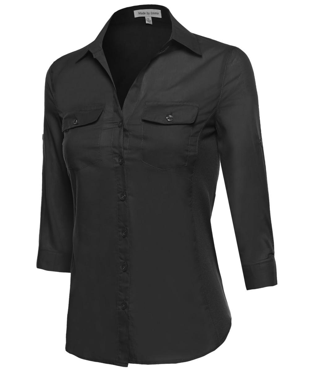 Women's Basic 3/4 Sleeve Button Up Dress Shirt w/ Side Ribbing ...